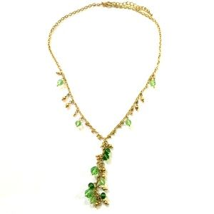 Green Y Necklace Gold